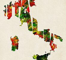 Italy Typographic Watercolor Map by A. TW