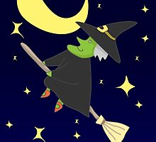 Witch Flying on Broom on A Starry Halloween Night Accompanied by the Moon and Stars by vividlee