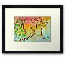 An autumn walk at dusk Framed Print