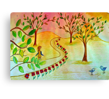 An autumn walk at dusk Canvas Print