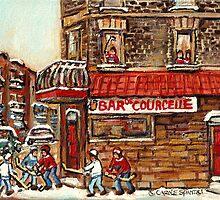 VERDUN TAVERNE BAR DE COURCELLE AND HOCKEY MONTREAL WINTER SCENE by Carole  Spandau