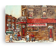 VERDUN TAVERNE BAR DE COURCELLE AND HOCKEY MONTREAL WINTER SCENE Metal Print