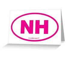 New Hampshire NH Euro Oval PINK Greeting Card