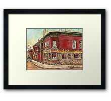 SILVER DRAGON CHINESE FOOD VERDUN RESTAURANT MONTREAL WINTER STREET SCENES PAINTINGS Framed Print