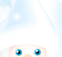 Mister Frost - beautiful illustration in cold-blue with man and Christmas baubles on frosty background Sticker
