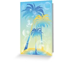 Tropical island - illustration with palm trees and bubbles  Greeting Card
