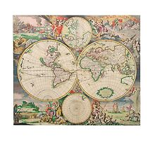 Antique Map of the world (Part of a set) by Solfie