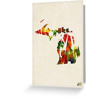 Michigan Typographic Watercolor Map Greeting Card