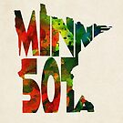 Minnesota Typographic Watercolor Map by A. TW