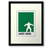 My Superhero 01 Angry Green Minimal poster Framed Print