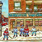 BEST SELLING MONTREAL PRINTS RESTAURANT WOODLAND VERDUN WINTER HOCKEY SCENE by Carole  Spandau