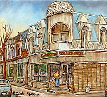MONTREAL BEST SELLING PRINTS CONNIE'S PIZZA VERDUN STREET SCENE by Carole  Spandau