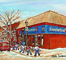 BEST SELLING DEPANNEUR PRINTS COUCHE TARD VERDUN MONTREAL WINTER HOCKEY PAINTING by Carole  Spandau