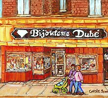 RUE WELLINGTON VERDUN CITY SCENE BIJOUTERIE DUBE BEST SELLING MONTREAL PRINTS by Carole  Spandau