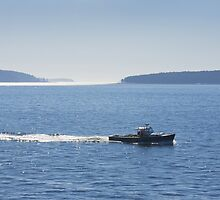 Lobster Boat And Islands Off Mount Desert Island Maine by KWJphotoart