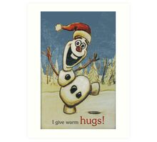 Olaf from Disney Frozen Gives Warm Christmas Hugs Art Print