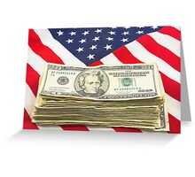 Stack of Money On American Flag  Greeting Card
