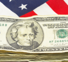 Stack of Money On American Flag  Sticker