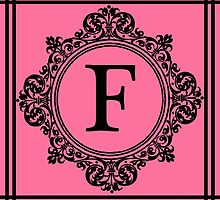 Hot Pink and Black Monogram F by Greenbaby