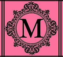 Hot Pink and Black Monogram M by Greenbaby
