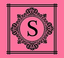 Hot Pink and Black Monogram S by Greenbaby