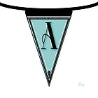 Manhattan 1920s Deco Blues Banner… Monogram letter initial A by CecelyBloom