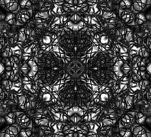 """""""Spirit of India: Dark Fleur and Cross"""" in white, grey and black by FireFairy"""