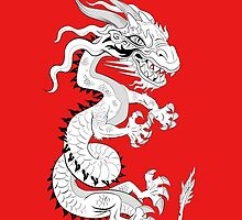 White Dragon on Red by Dave Stephens