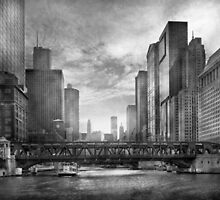 City - Chicago, IL - Looking toward the future - BW by Mike  Savad