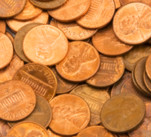 Pile of American pennies Sticker