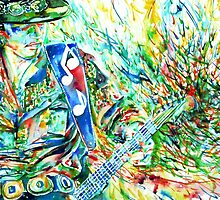 STEVIE RAY VAUGHAN PLAYING GUITAR WATERCOLOR PORTRAIT by lautir