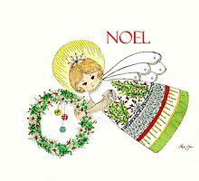 Christmas Angel Holly by Linda Ginn Art