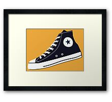 All Star Inspired Hi Top Retro Sneaker in Navy Blue Framed Print