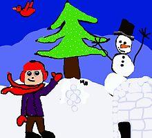 winter playground snowman igloo n boy by Maureen Zaharie