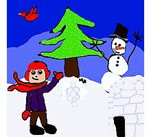winter playground snowman igloo n boy Photographic Print