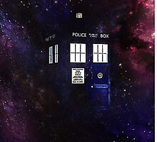 Doctor Who TARDIS in galaxy by Melissa Gray