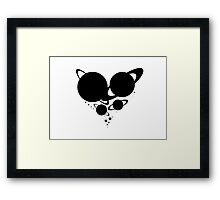 Solar System Heart (to scale) black version Framed Print