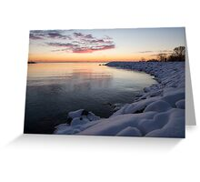 Snowy Pink Dawn on the Lake Greeting Card