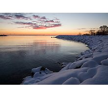 Snowy Pink Dawn on the Lake Photographic Print