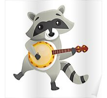 Funny raccoon playing the banjo Poster