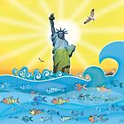 Cool Colorful New York Statue of Liberty and Fish by silvianeto