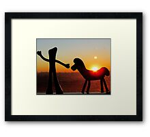 Sunset with Gumby and Pokey Framed Print