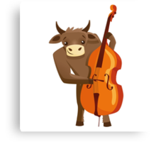 Funny ox playing music with cello Canvas Print