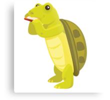 Cute turtle playing music with harmonica Metal Print