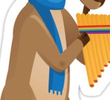 Cartoon goat playing music with panpipe Sticker