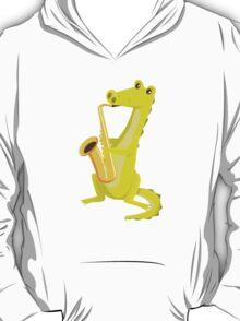 Cartoon crocodile playing music with saxophone T-Shirt