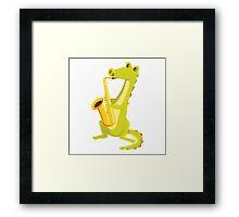 Cartoon crocodile playing music with saxophone Framed Print