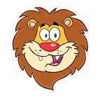 Cute smiling head of a cartoon lion by berlinrob