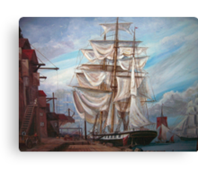 Drying Sails in Dock Canvas Print