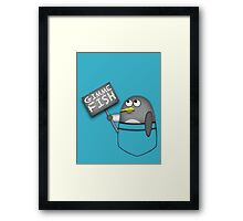 Pocket penguin wants fish Framed Print